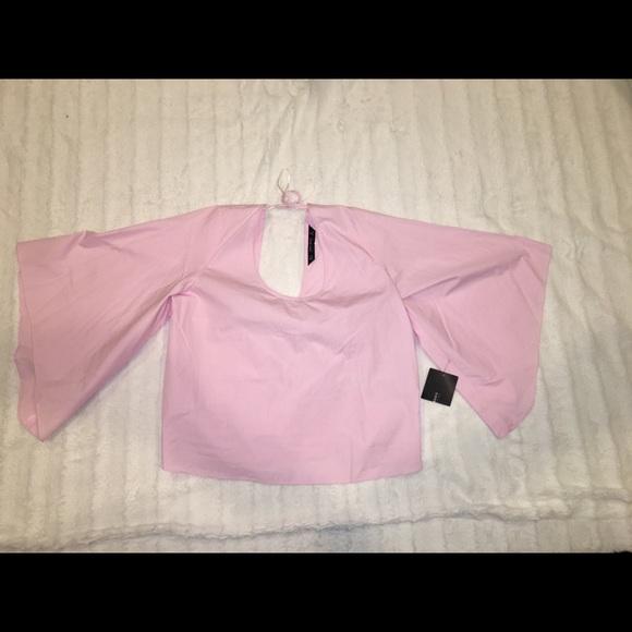 Zara Pink Crop Top 3/4 Bell Sleeve Bow Pleat Back